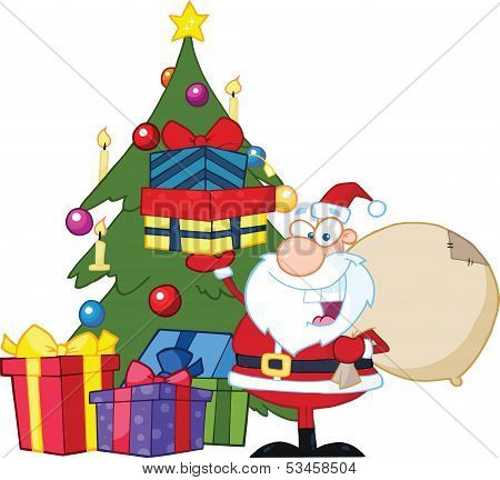 Jolly Santa Claus Holding Up A Stack Of Gifts By A Christmas Tree