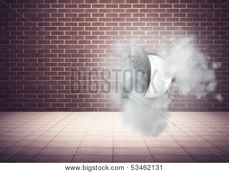 Open safe in dust cloud in grey room poster