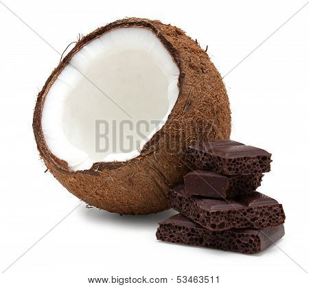 Coconut And Pieces Of Chocolate Isolated On White