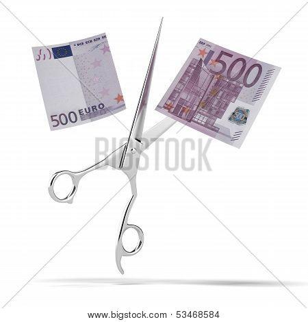 euro bill with scissors