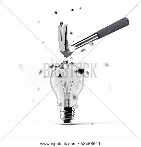 hammer crashing on light bulb