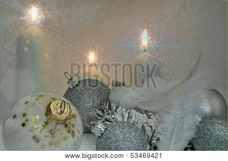 Christmas Decoration In White And Silver