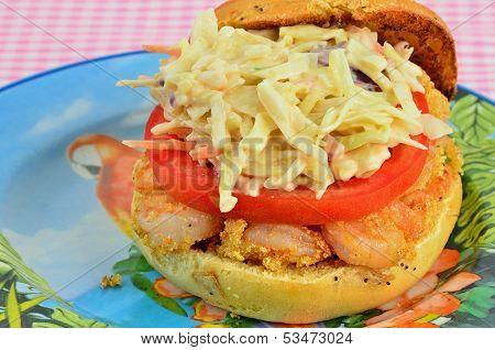 Shrimp Poboy On Onion Roll