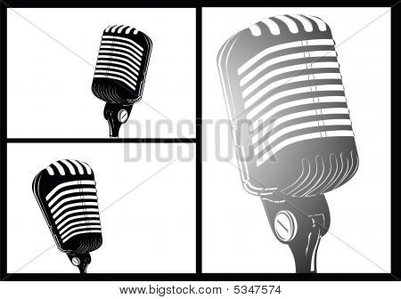 comic style white black retro microphone with high contrast colors poster