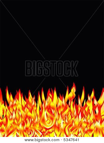 Burning fire flames with high contrast colors poster