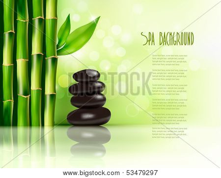 Spa background with bamboo and stones. Vector illustration.