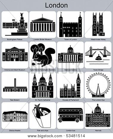 Landmarks of London. Set of monochrome icons. Editable vector illustration.