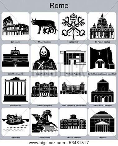 Landmarks of Rome. Set of monochrome icons. Editable vector illustration.