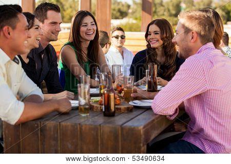 Friends having fun at a bar