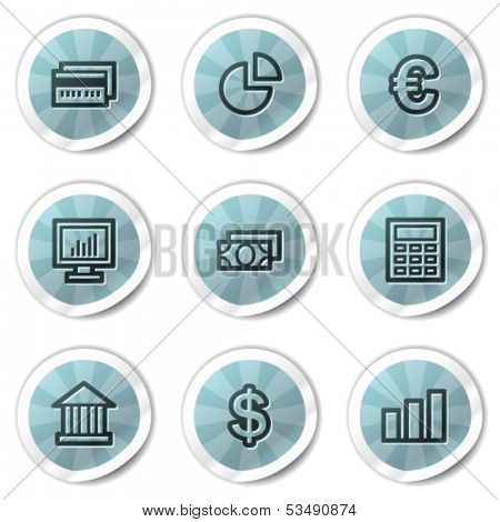 Finance web icons set 1, blue shine stickers series