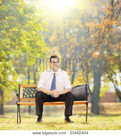 Relaxed young businessman sitting on a wooden bench and looking at camera in a park on a sunny day, shot with a tilt and shift lens