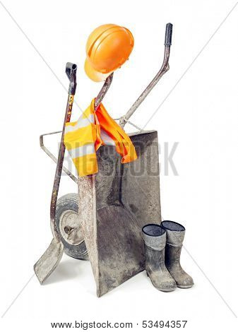 Basic bulider's equipment comprising wheel barrow, pair of wellingtons, shovel, hard hat and reflective safety vest all shot on white background
