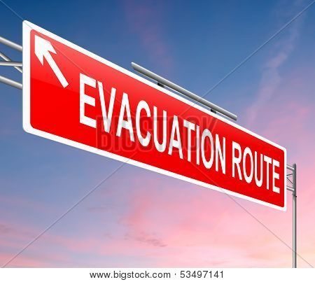 Evacuation Route Sign.