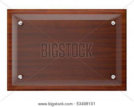 Wood Plaque With Glass Plate.