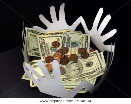 Money And Paper Hands On Black
