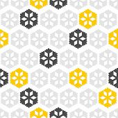 light and dark gray and yellow star snowflakes in regular rows winter seasonal seamless pattern on white background poster