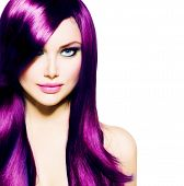 Beautiful Girl with Healthy Long Purple Hair and Blue Eyes. Beauty Model Woman with Professional Makeup, Red lipstick. Hairstyle. Stylish Haircut. Fringe. Smooth Fashion Hair. Hair Coloring  poster