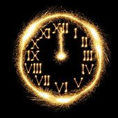 Sparking clock showing almost midnight and the New Year's Day coming poster