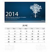 2014 calendar, monthly calendar template for June (Christmas tree design). Vector illustration. poster