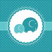 Baby boy announcement card with elephants. Vector illustration. poster