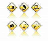 Image of yellow road set signs on white poster
