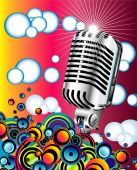 Colorful metallic retro microphone in the Blue sky poster