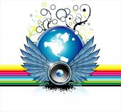 Fantasy flying Speaker with globe and rainbow background with High Contrast Colors poster