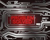 Abstract style illustration depicting printed circuit board components with a problem solved concept.. poster