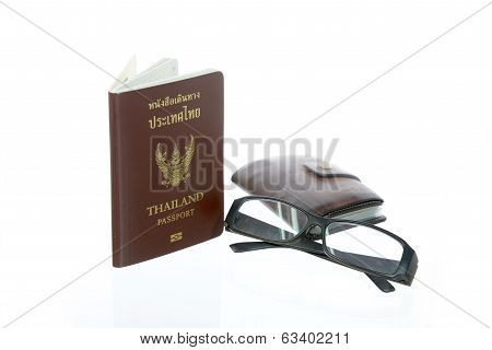 Thailand Passport ,eyeglasses ,wallet
