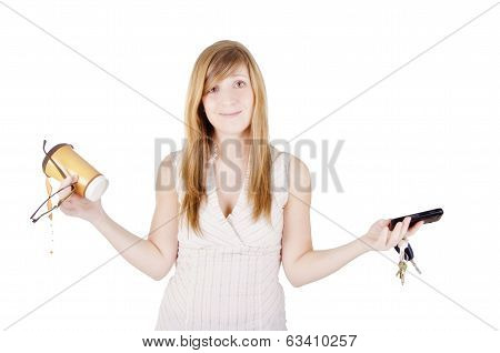 Clumsy businesswoman is spilling her coffee, isolated on white background