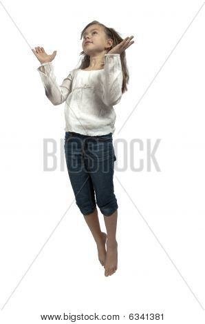 Girl Jumping With Upraised Hands