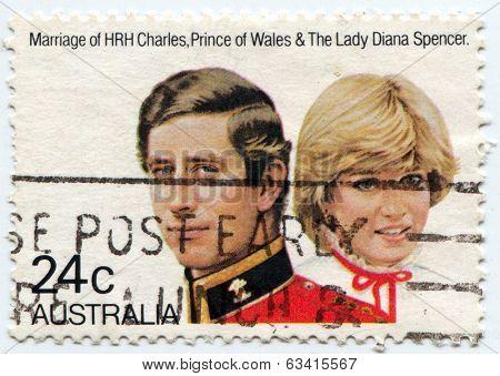AUSTRALIA, CIRCA 1981:  Postal stamp commemorating the royal wedding of Prince Charles and Lady Diana Spencer, circa 1981