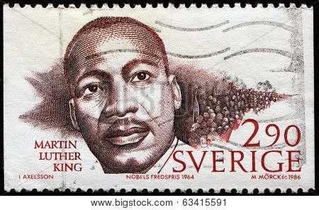 SWEDEN - CIRCA 1986: stamp printed in Sweden dedicated to Nobel Peace winner, showing Martin Luther King, circa 1986