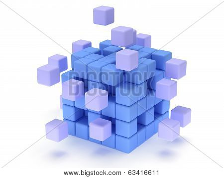 Cubes block. Assembling concept. Teamwork. Business. On white background. 3D render icon. poster