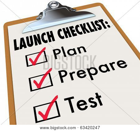 Launch Checklist Clipboard Plan Prepare Test New Product Company Business