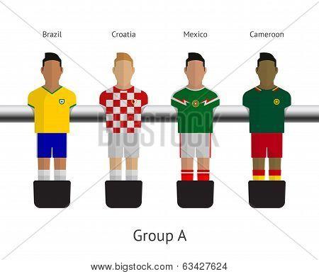 Table football, soccer players. Group A - Brazil, Croatia, Mexico, Cameroon