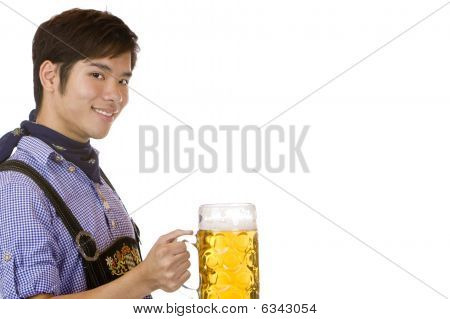 Smiling Asian Holding Oktoberfest Beer Stein (mass)