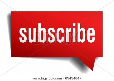 Subscribe red 3d realistic paper speech bubble isolated on white poster