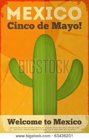 Cactus. Mexican Posters in Retro Style. Cinco de Mayo. Vector Illustration. poster