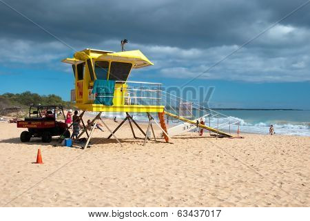Lifeguard Tower On Big Beach Maui Hawaii