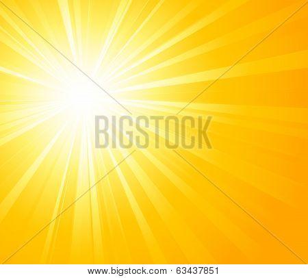 Vector illustration Orange summer sun light burst poster