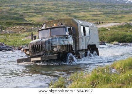 Truck Crossing A River