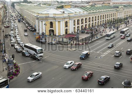 ST.PETERSBURG, RUSSIA - JUN 26, 2013: Top view of the Metro and mall Gostiny Dvor on Nevsky Prospect. Station opened on 1967, is one of busiest stations in the entire SPb Metro.