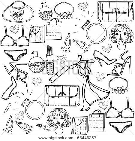 set of trendy fashion illustration