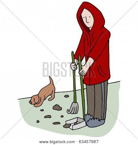 An image of man picking up dog poop.