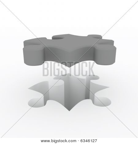 3D rendering puzzle over white