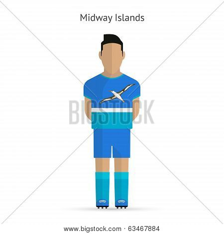 Midway Islands football player. Soccer uniform. Vector illustration. poster