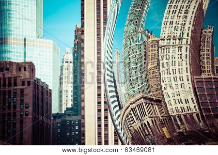 Chicago, Il - April 2: Cloud Gate And Chicago Skyline On April 2, 2014 In Chicago, Illinois. Cloud G