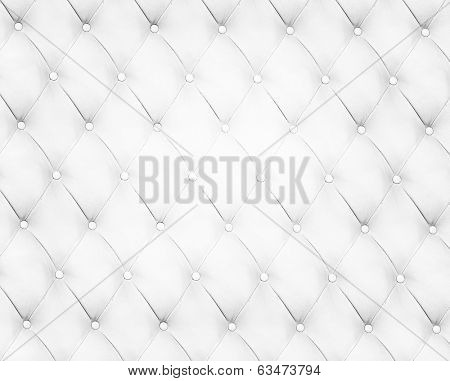 Abstract background texture of an old natural luxury, modern style leather with rhombs. Classic white, light and dark gray grungy skin of retro wall, door, sofa or studio interior with metal buttons.