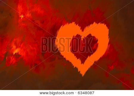 Red Background With An Abstract Pattern And A Symbol Heart